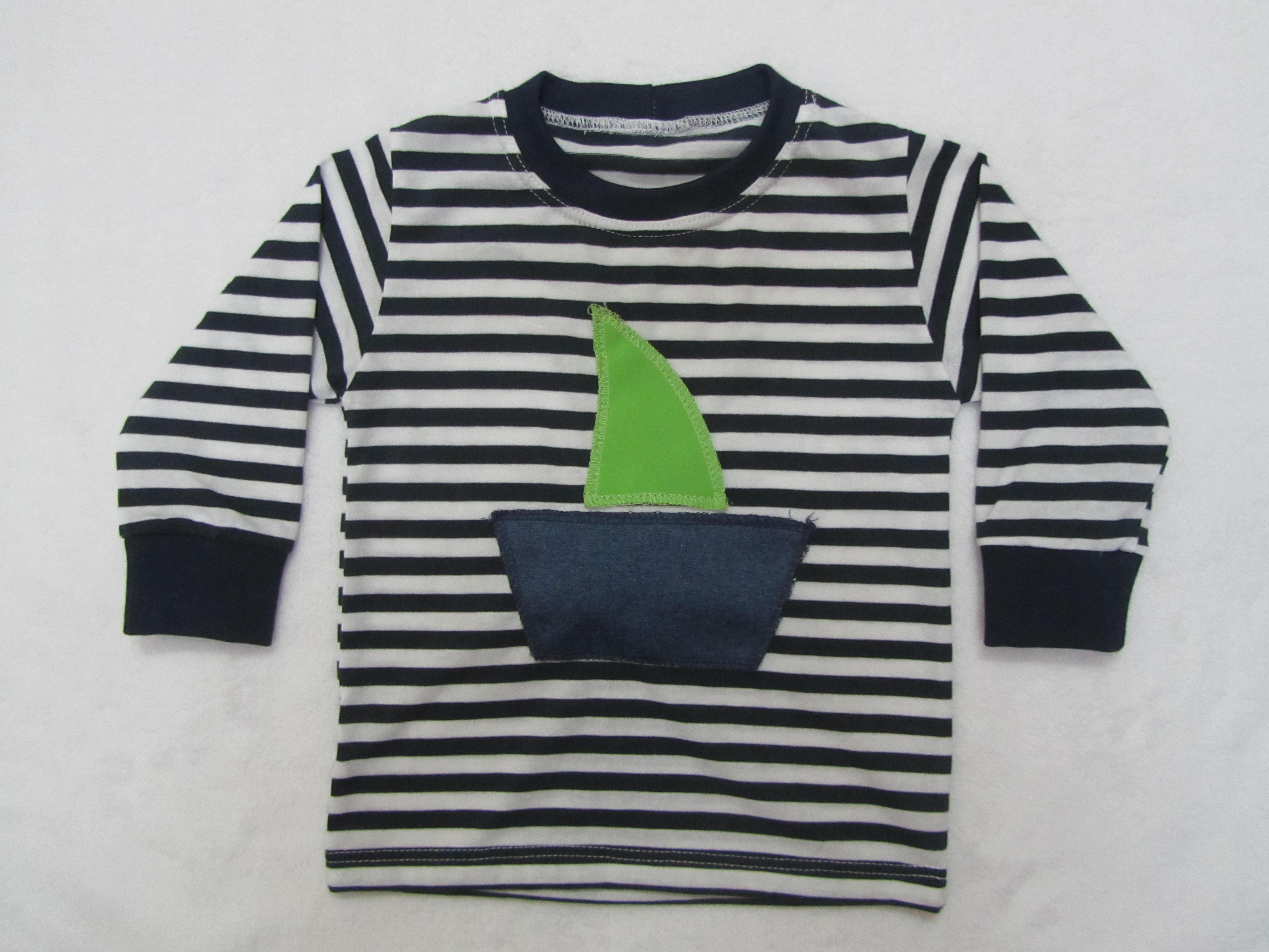 66e2fc425 Námornícke tričko s pískacím vzorom dlhý rukáv lodička