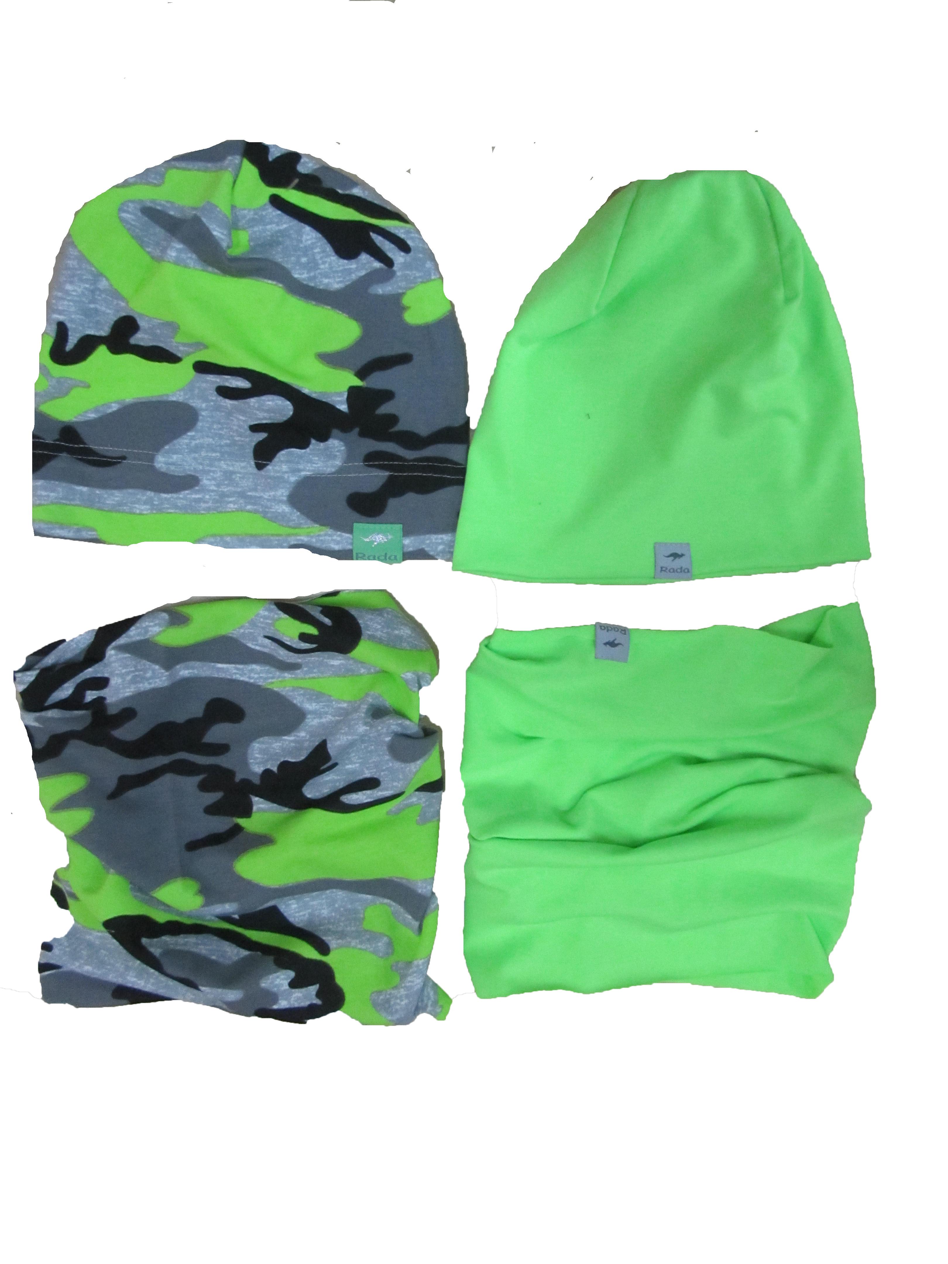 c1846d281 Maskáčová čiapka neónová zelená, mierne predĺžená